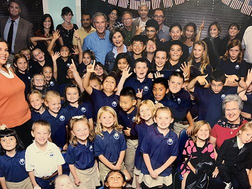 George W. and Laura Bush visiting Alpine Christian School in 2009